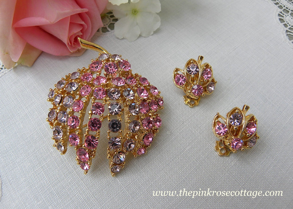 Vintage Pink and Lilac Rhinestone Flower Bud Brooch Pin and Earrings Set