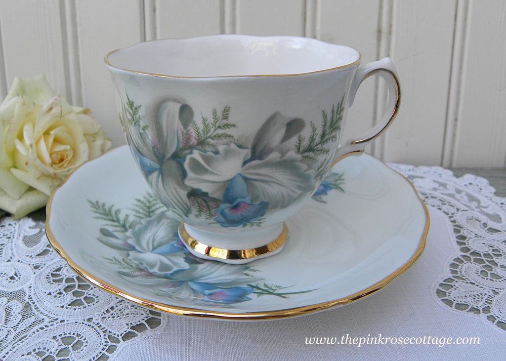 Vintage Colclough Blue Orchid Teacup and Saucer