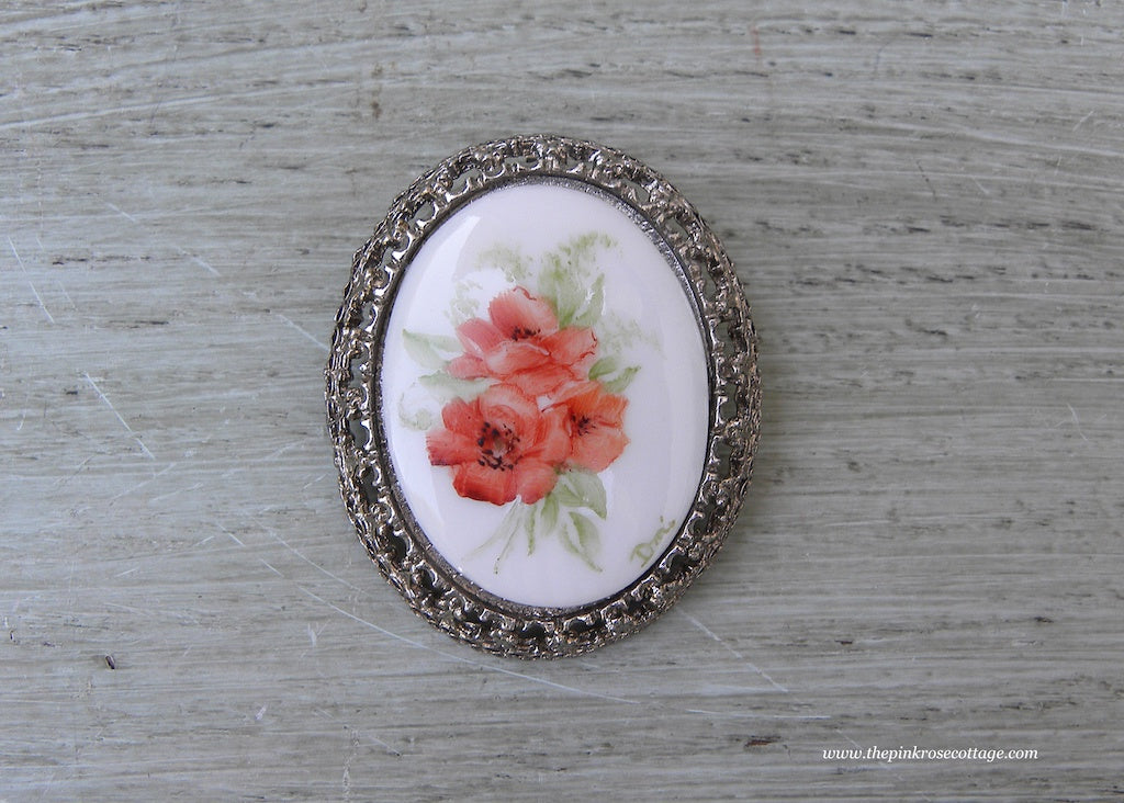 Vintage Hand Painted Poppies Brooch Pin Pendant
