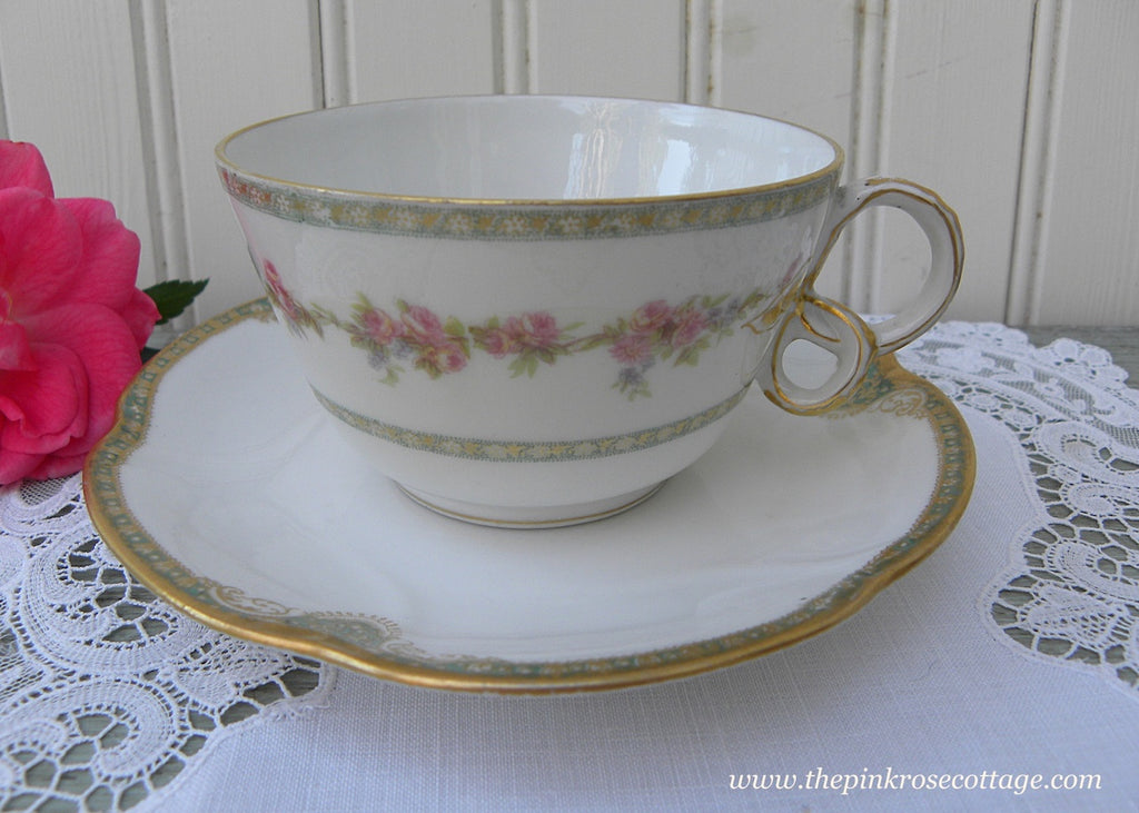 Antique Haviland Limoges Teacup with Curly Handle - The Pink Rose Cottage