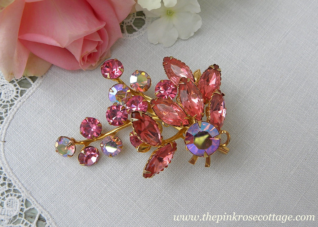 Vintage Floral Spray Brooch Pin with Pink Aurora Borealis Rhinestones