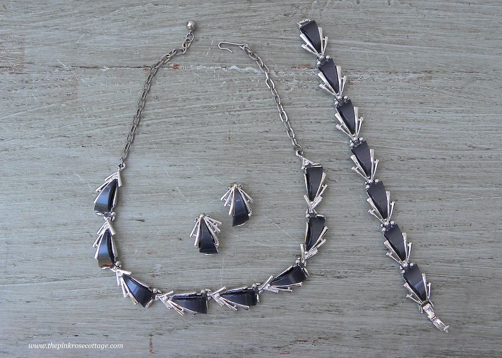 Vintage ART Charcoal Gray Thermoset Necklace Bracelet Earrings Set