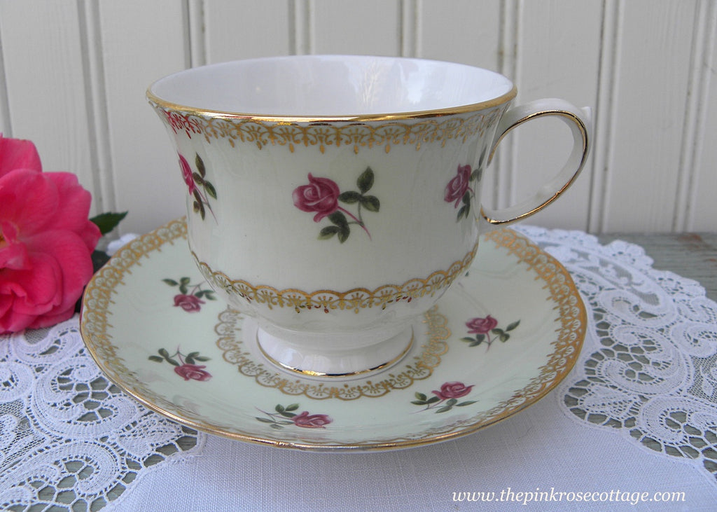 Vintage Queen Anne Soft Green with Pink Roses Teacup and Saucer