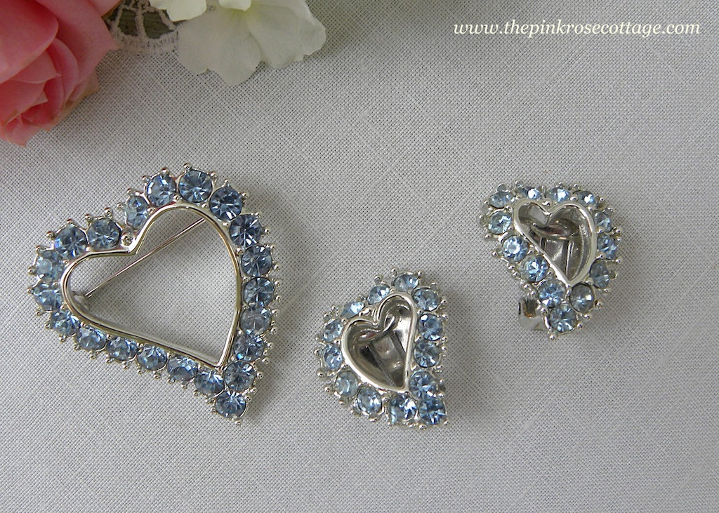 Vintage Sarah Coventry Ice Blue Rhinestone Heart Brooch Pin and Earring Set