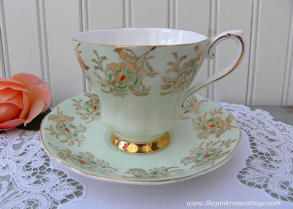 Vintage Royal Grafton Soft Green Gold and Floral Teacup and Saucer