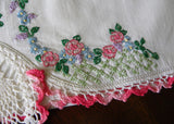 Vintage Hand Embroidered Southern Belle with Rose Garland Pillowcases