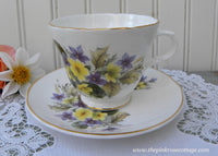Vintage Purple Violets and Yellow Primrose Teacup and Saucer