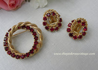 Vintage Ruby Red Rhinestones and Rope Brooch Pin and Earrings Set