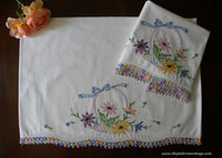 Vintage Hand Embroidered Basket of Flowers Pastel Crocheted Lace Pillowcases
