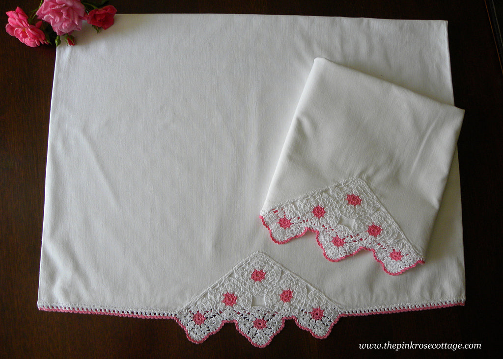 Pair of Vintage Pink and White Hand Crocheted Lace Pillowcases