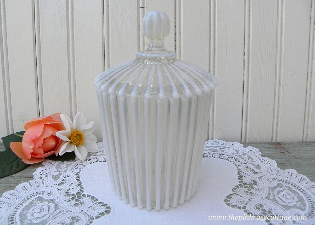 Antique Victorian Beatty White French Ribbed Opalescent Lidded Jar - The Pink Rose Cottage