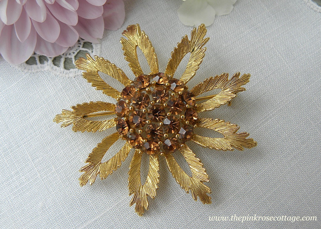 Vintage Gold and Deep Amber Rhinestone Sunflower Pin Brooch