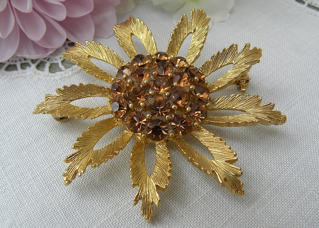 Vintage Gold And Deep Amber Rhinestone Sunflower Pin
