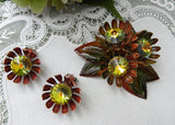 Vintage Chrysanthemum Enameled Pin and Earring Set with Watermelon Rhinestones