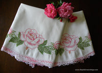Vintage Embroidered Pink Roses and Pink Crocheted Lace Pillowcases