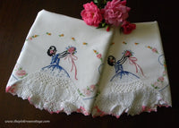 Vintage Hand Embroidered Southern Belle with Bouquet and Daisies Pillowcases
