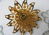 Vintage Judy Lee Bright Orange Rhinestone Flower Brooch Pin and Earrings Set