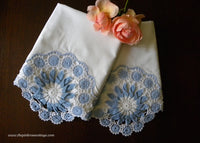 Vintage Hand Crocheted Blue and White Medallion Pillowcases