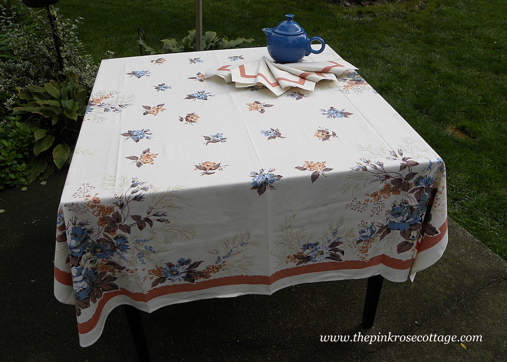 Vintage MWT Prints Charming E/S Williamsburg Blue Roses & Coral Tablecloth and Napkins