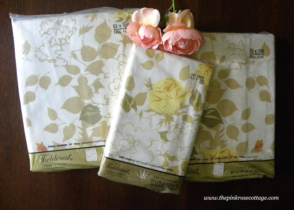 NIP Vintage Fieldcrest Yellow Rose Sheets Rose Bouquet and Pillowcases