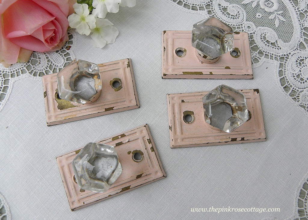 Set of Four Vintage Glass Door Drawer Pulls Knobs with Pink Back Plate