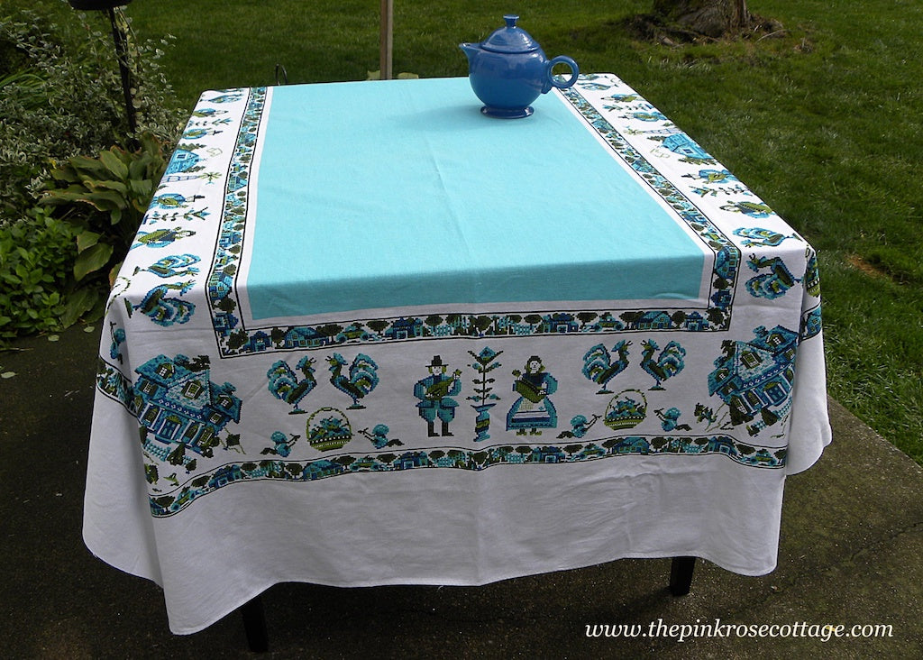 Vintage Parisian Prints Country Sampler Tablecloth Teal and Green