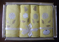 NIP Vintage Royal Terry of CA Yellow Roses Towels and Washcloths Set