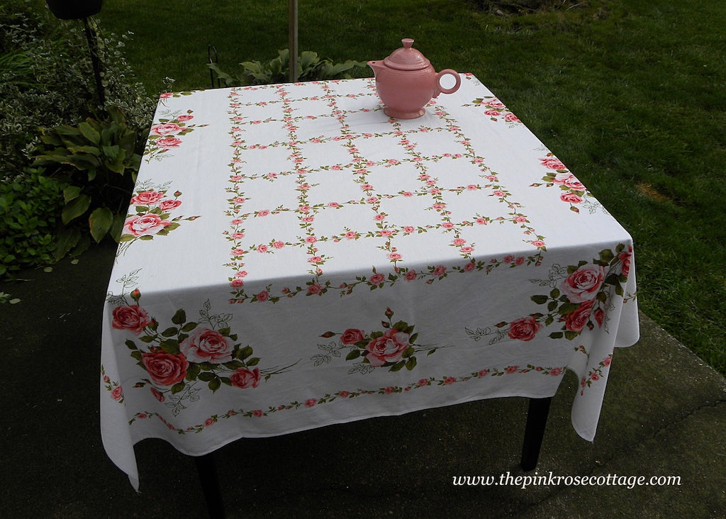 Vintage Pink Roses and Garland Tablecloth