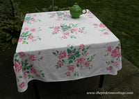 Vintage Wilendur Wilendure Pink Royal Rose Tablecloth