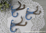 Vintage Chippy Blue Painted Wall Coat Clothes Hooks