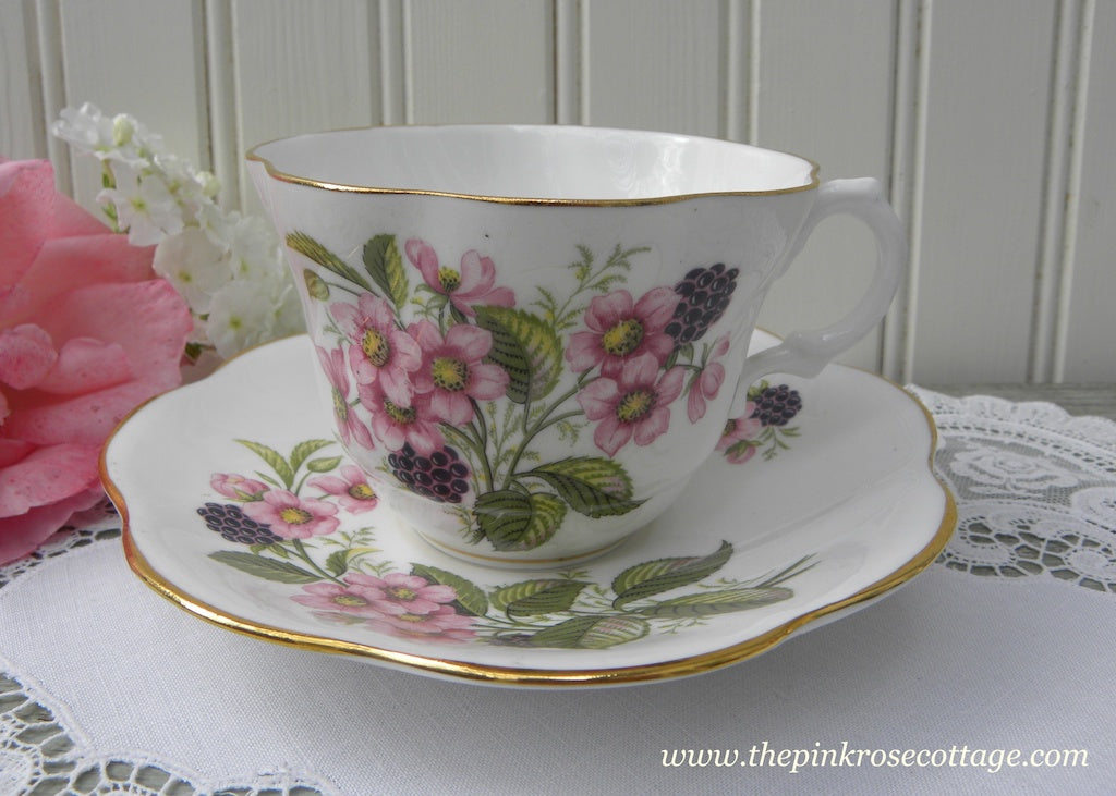 Vintage Blackberries and Pink Blackberry Blossoms Teacup and Saucer