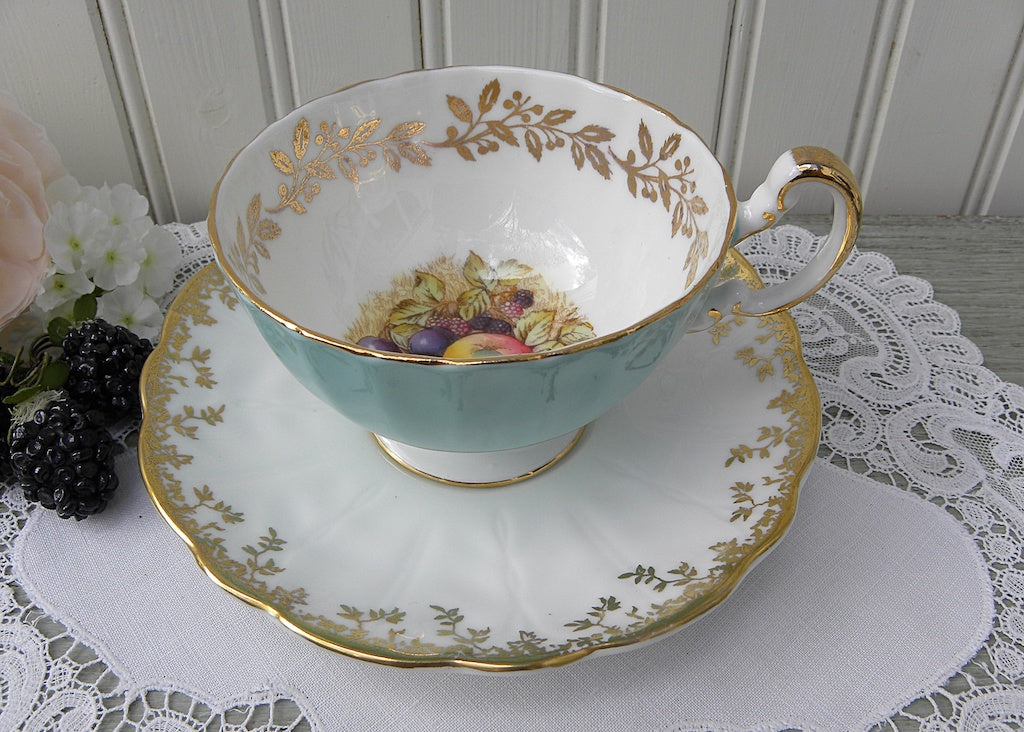Vintage Aynsley Soft Blue Teacup and Saucer with Harvest Fruits