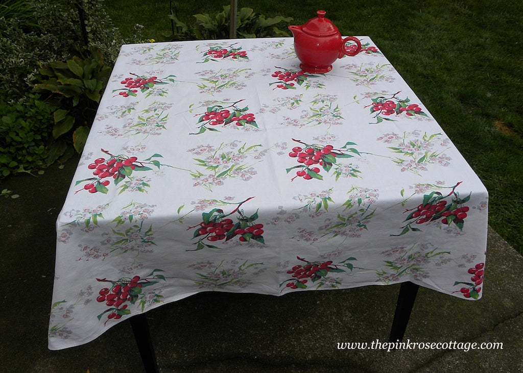 Vintage Wilendur Cherry Cherries Tablecloth Large