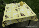 Vintage Wilendur Laurel Berry Yellow Tablecloth