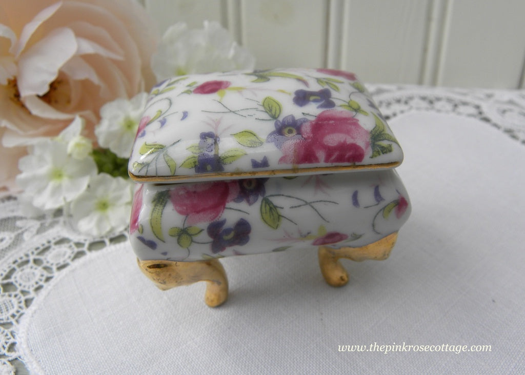 Vintage Lefton Pink Rose Chintz Vanity Ring Trinket Box