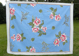 Vintage Styled in Paris Bold Pink Roses on Blue Tablecloth