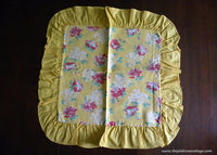 Vintage Yellow Feedsack with Pink and Red Poppies Pillow Cover