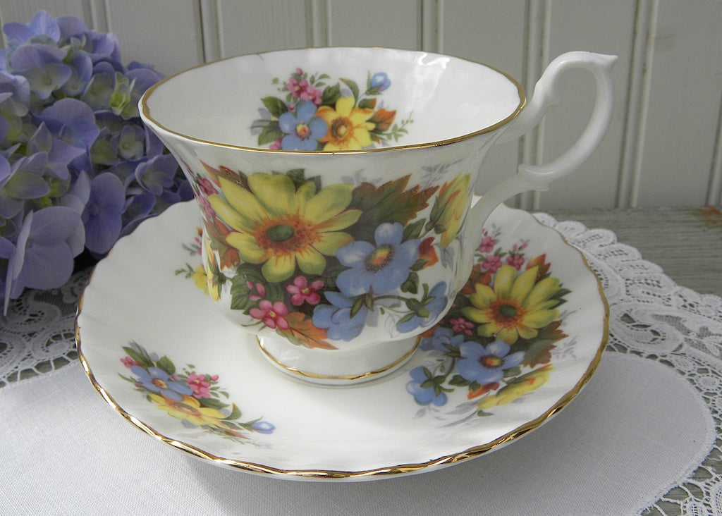 Vintage Royal Albert Summertime Series Yellow Daisy Teacup and Saucer