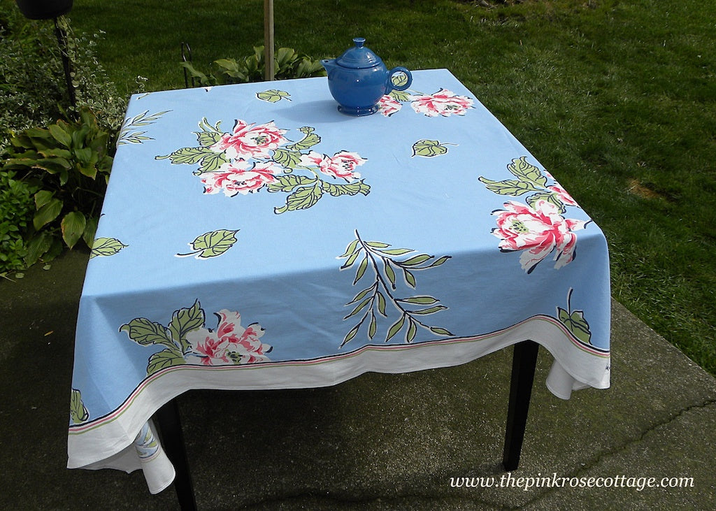 Vintage Parisian Prints Bold Pink Roses on Blue Tablecloth