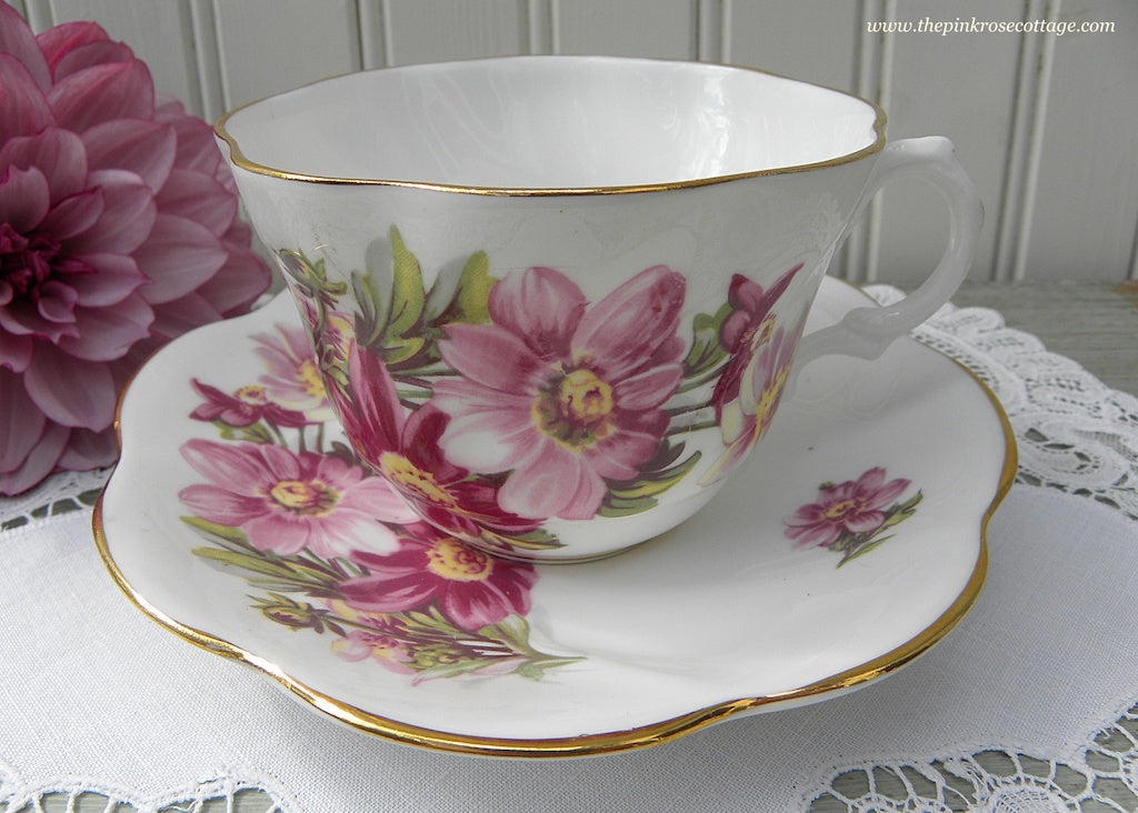 Vintage Purple and Pink Dahlia Teacup and Saucer