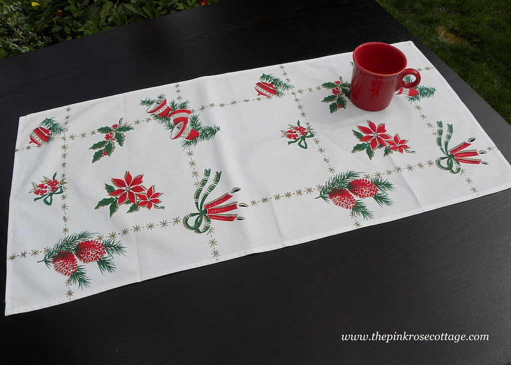 Vintage Christmas Tea Towel Table Runner Bells Holly Shiny Brites