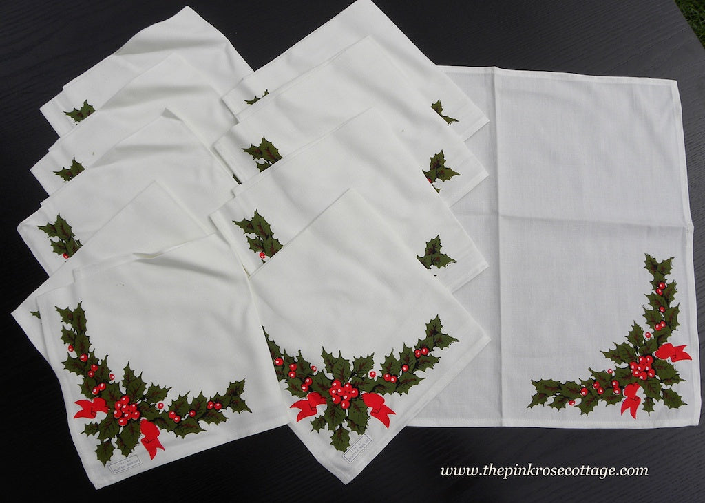 Vintage Set of Unused Christmas Holly Napkins