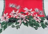 Vintage MWT E/S Prints-ES Christmas Ivy Poinsettia Tablecloth and Napkins