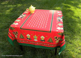 Vintage Christmas Tablecloth Trees Angels Bells Stars and More