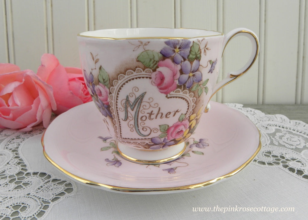 Vintage Paragon Pink Mother Teacup Lacy Heart Pink Roses and Violets