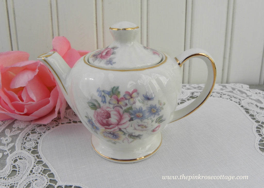 Vintage Sadler Miniature Teapot Pink Roses and Wild Flowers Childs Size