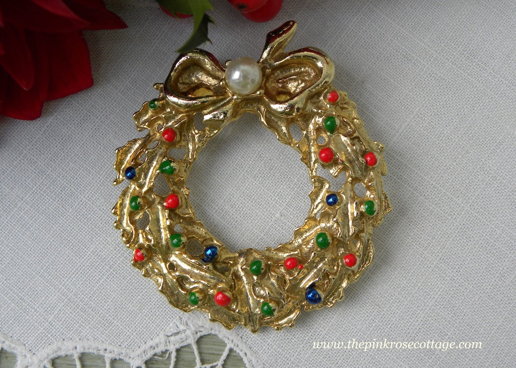 Vintage Christmas Holly Wreath with Ornaments and Bow Pin