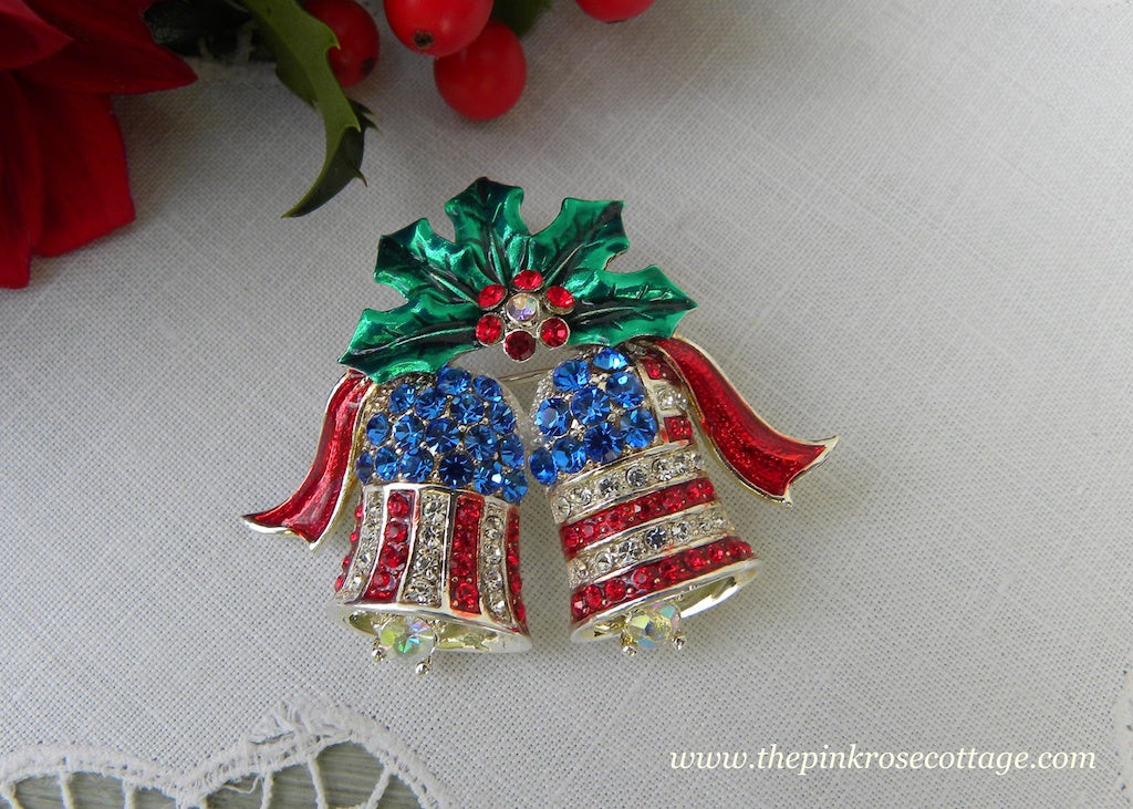 Vintage Patriotic Rhinestone Red White and Blue Christmas Bells Pin with Holly