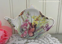 Teapot Shaped Teabag Holder Foxglove and Butterflies - The Pink Rose Cottage