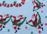 Vintage Jolly Dancing Santa Claus and Bells Christmas Tablecloth